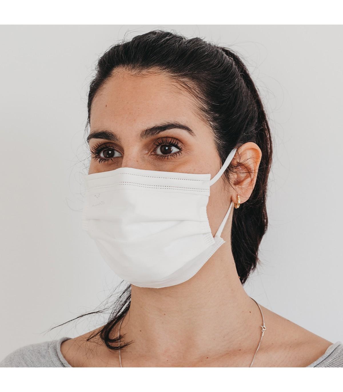 Mascarilla quirúrgica textil reutilizable - blanca
