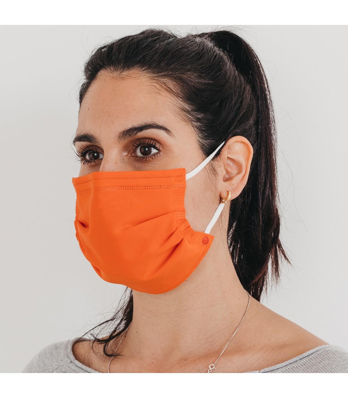 Mascarilla quirúrgica textil reutilizable - naranja