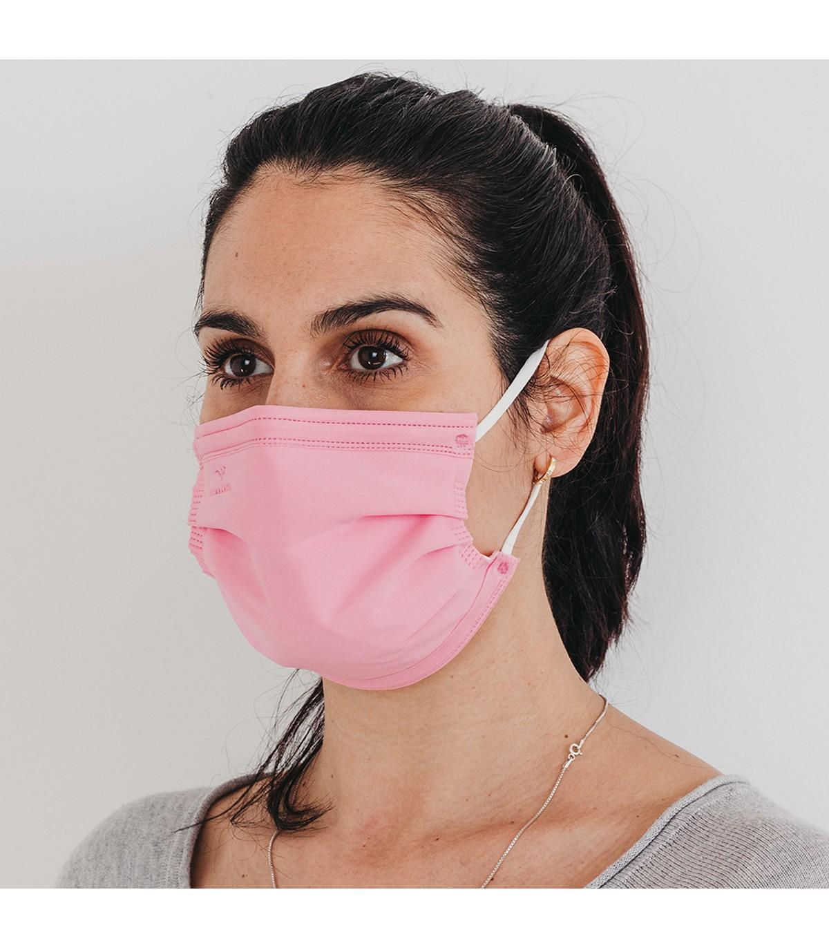 Mascarilla quirúrgica textil reutilizable - rosa