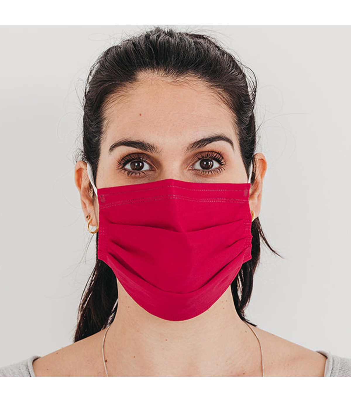Mascarilla quirúrgica textil reutilizable - fucsia